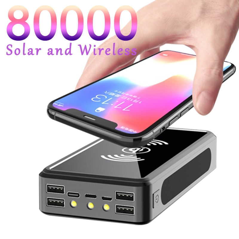 80000mAh Power Bank Wireless Charging Solar Battery Panel With 4USB Output Port Large-capacity Charger for Samsung Xiaomi IPhone