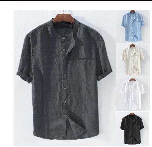 Men's Baggy Pants Cotton Blend Solid Color Short Sleeve Retro Shirts Tops Blouse Slim Fit Men's Men's Ethnic Print Stand Collar