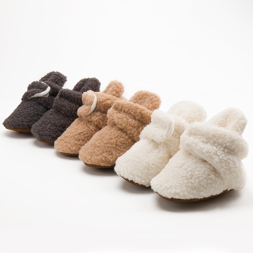 Носки детские зимние для мальчиков и девочек, пуховые мягкие туфли для малышей, Нескользящие теплые, обувь для новорожденных, мокасины