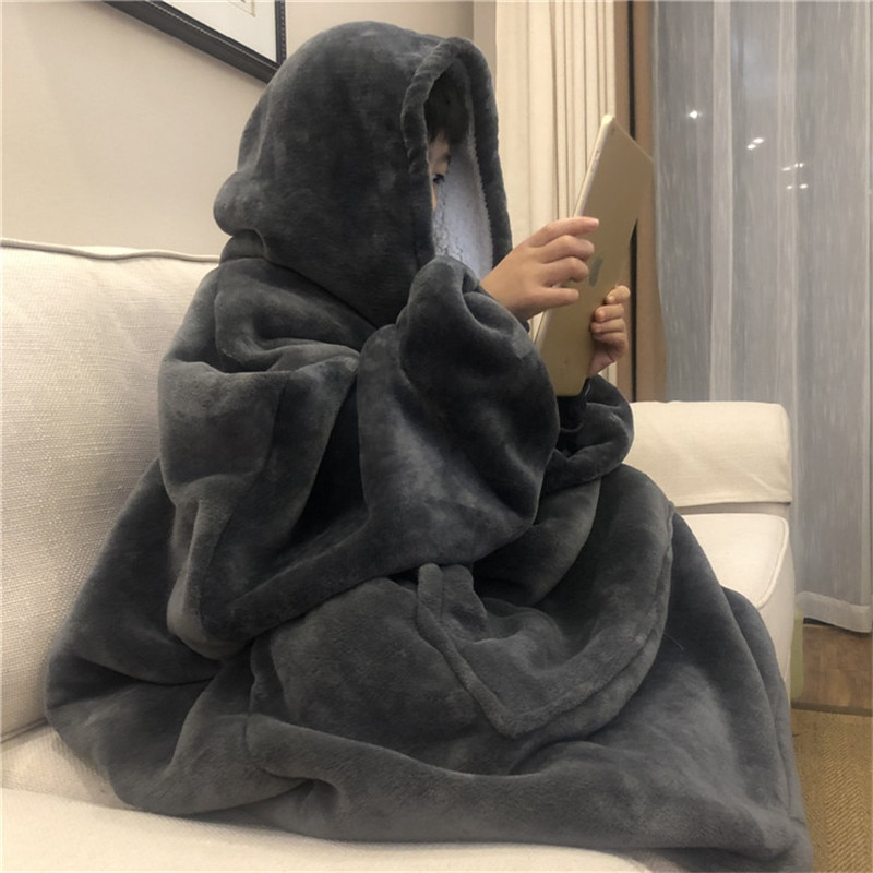 Warm Thick TV Pocket Hooded Blanket Winter Sofa Weighted Blankets Flannel Coral Fleece Uni Giant Pocket For Beds Travel Home