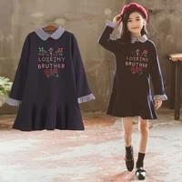 girls dress 2021 new summer casual princess a line striped long sleeve kids dress for 4 6 8 9 10 12 years autumn letter vestidos