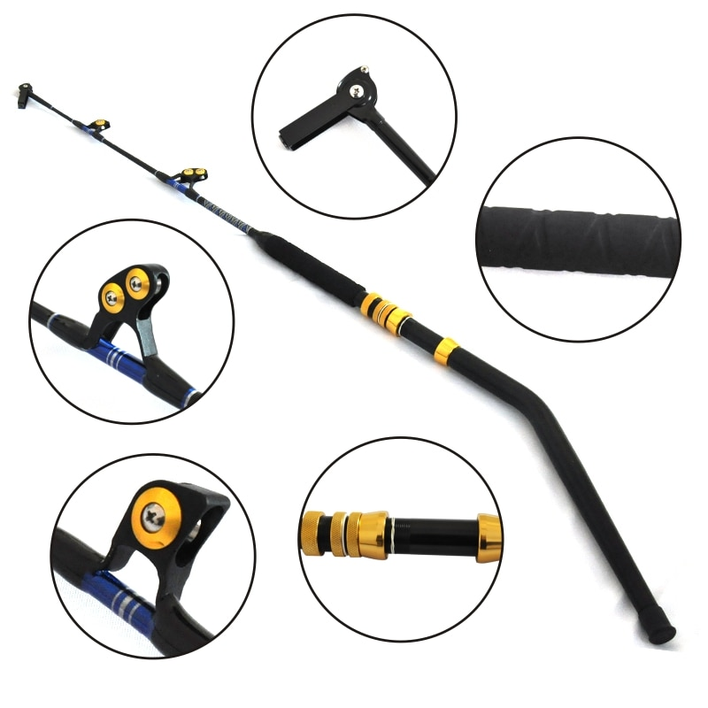 130lbs Trolling Rods FRP Material Trolling Fishing Rod with Double Butt Big Game Rod 2+1 Guides Conventional Boat Fishing Pole enlarge
