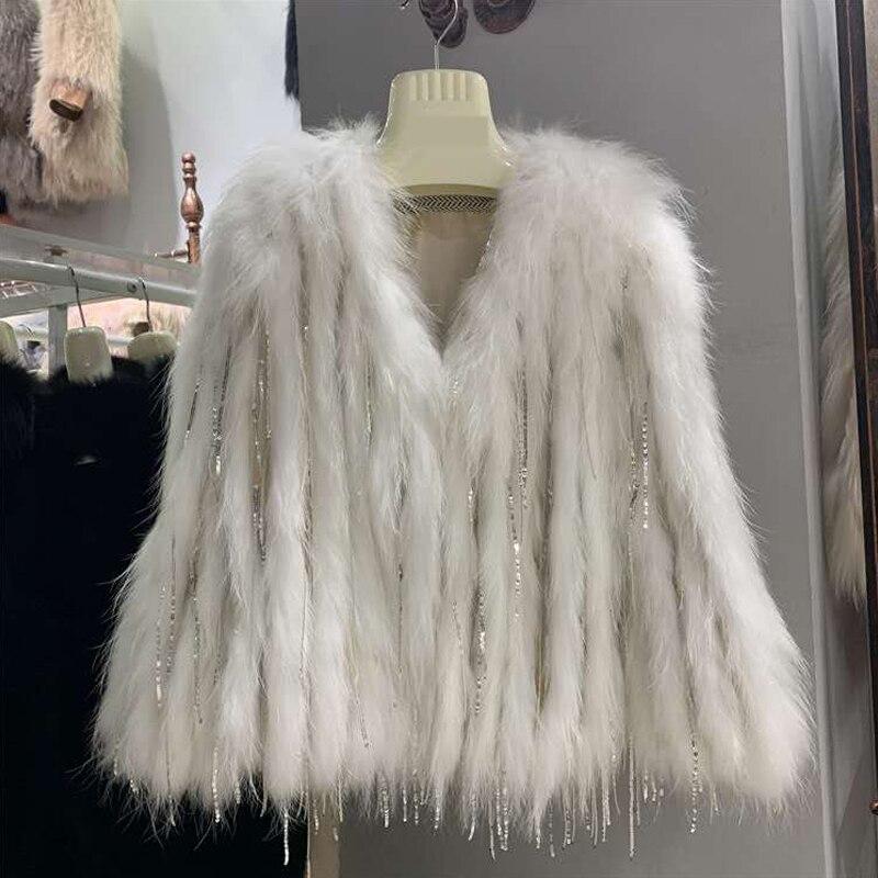 طول 55 سنتيمتر الحقيقي الفراء معطف المرأة محبوك الثعلب الحقيقي الفراء معطف جديد أزياء ستليي الإناث معطف الراكون الفراء المنسوجة مع هامش معطف
