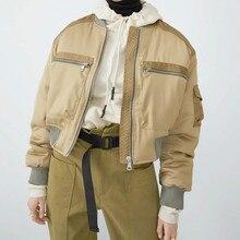 YICIYA 2021 Autumn Short Baseball Women's Padded Clothes Zipper Splice Casual Loose Basic Jacket Bom