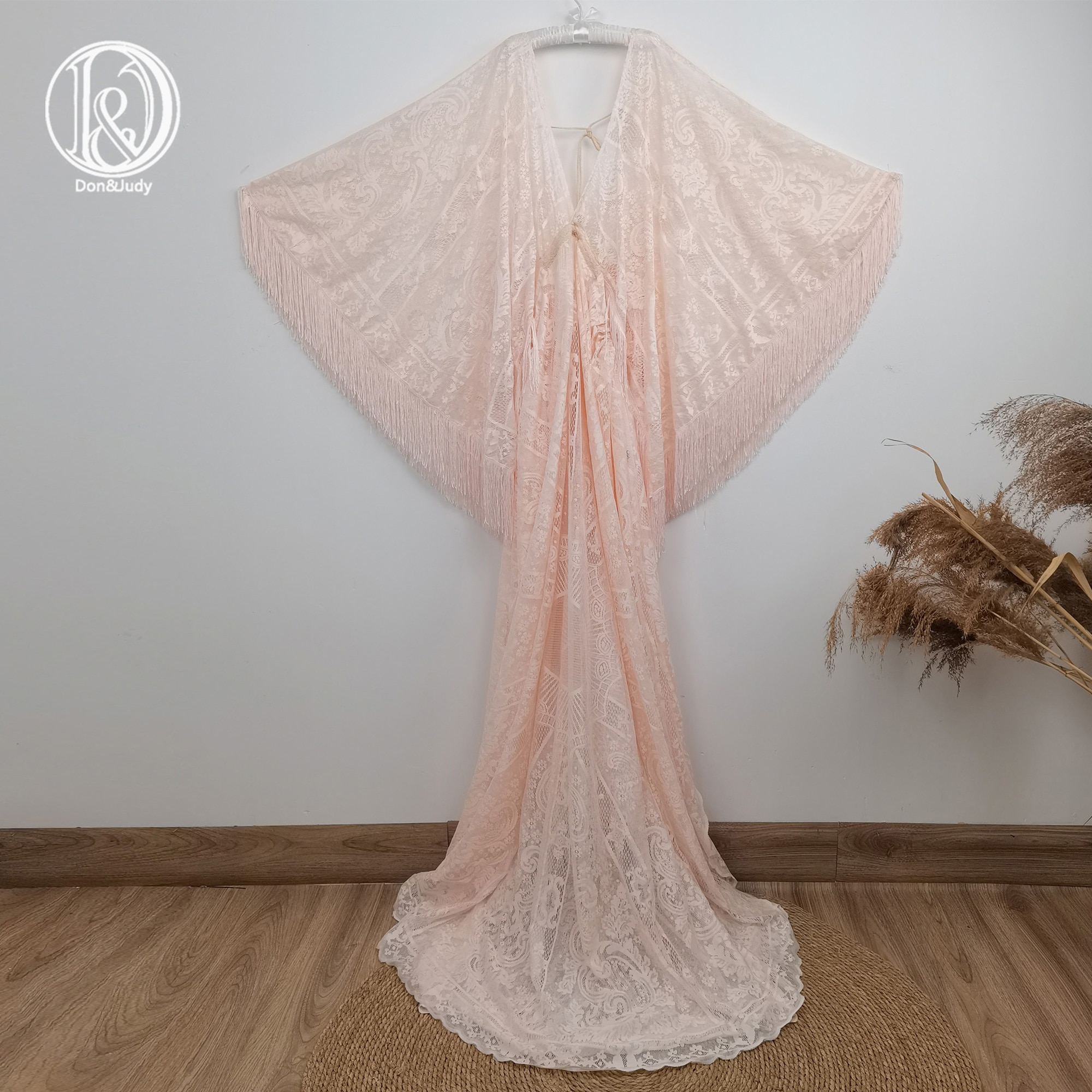 Don&Judy Long Pink Maternity Shoot Dress Pregnancy Photography Dresses Maxi Boho Maternity Gown Photo Prop For Pregnant 2021