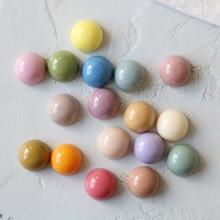 Wholesale 100pcs/lot color print geometry rounds shape flatback resin beads diy jewelry earring/garment accessory