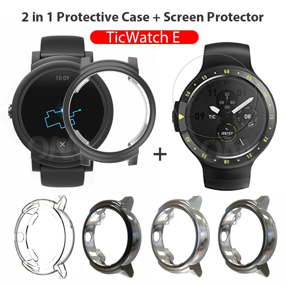 AliExpress - 2-in-1 Protector Case + Screen Protector for Ticwatch E Smart Watch Silicone Cover Shell Tempered Glass Film for Tic Watch E