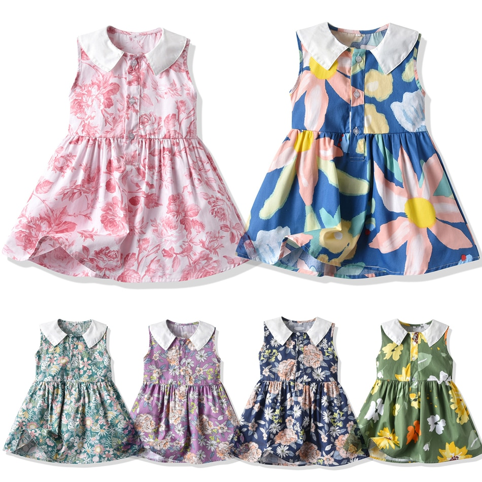 Girl Summer Floral Clothing Fashion Doll Collar Sleeveless Princess Dress Little Kids Casual Costume For Children