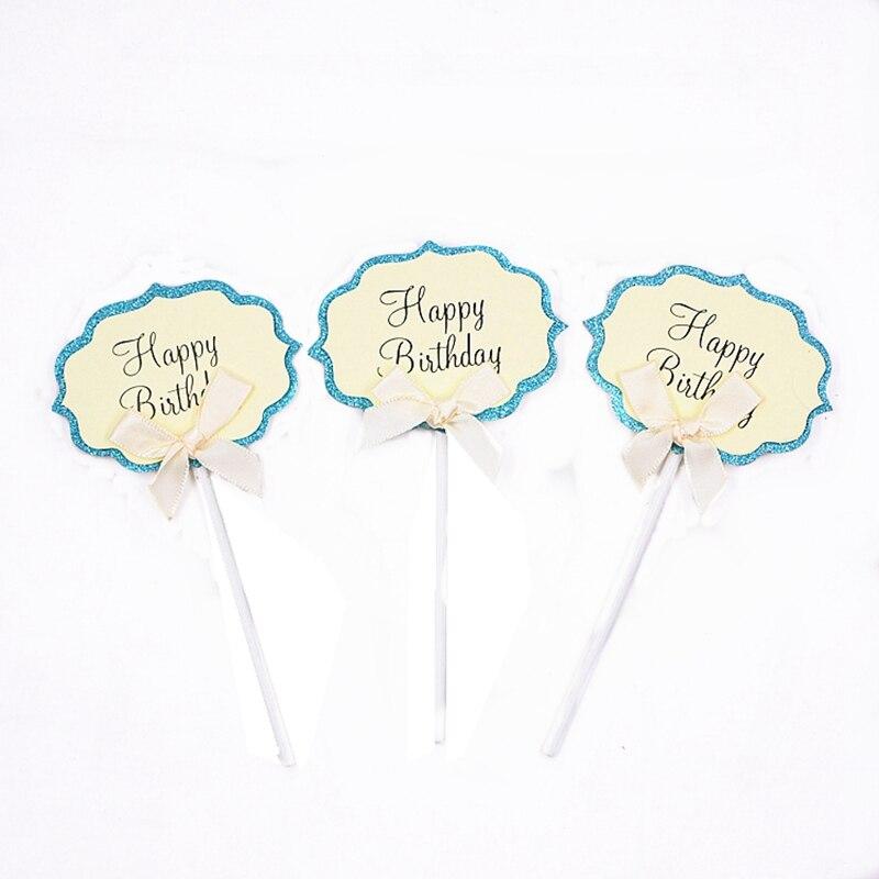 5 uds. Nuevo arco Rosa DIY Tarjeta de torta insertar papel de escritura azul amarillo púrpura fiesta suministros de decoración