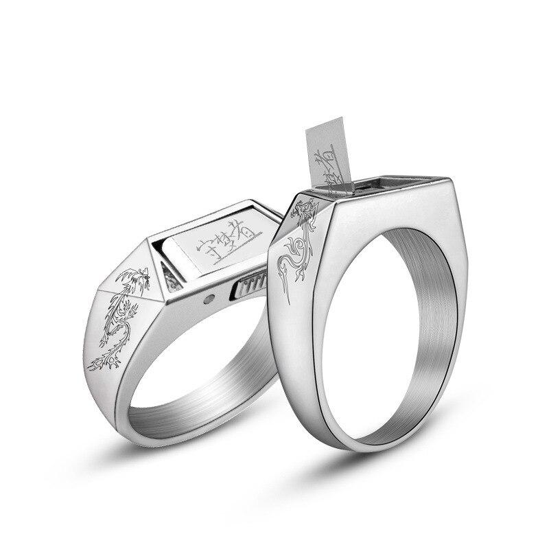 التنين و فينيكس خاتم المرأة الدفاع عن النفس خاتم التيتانيوم الصلب الرجال خاتم زوجين الدفاع عن النفس سلاح مجوهرات