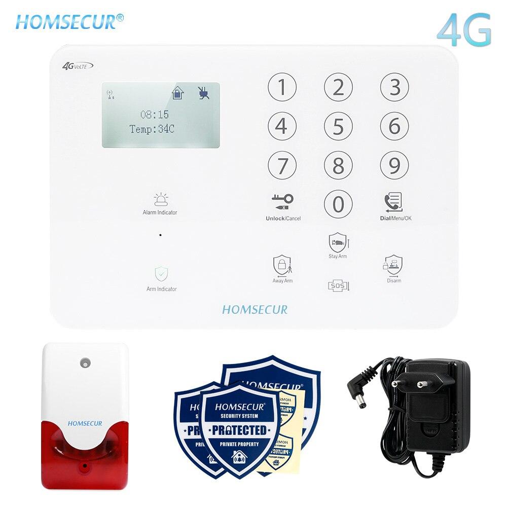 HOMSECUR اللاسلكية و السلكية 4G/3G/GSM LCD لص منزل نظام إنذار اللمس لوحة المفاتيح + IOS/الروبوت APP متعددة اللغات القائمة GA01-4G-W/B