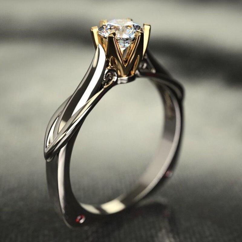 MENGYI 2020 Nova Bague Clássico 6 Garras Design Anel de Casamento Cubic Zirconia Inlay Brilhante Prateado Anel Para As Mulheres Do Partido de Luxo jóias