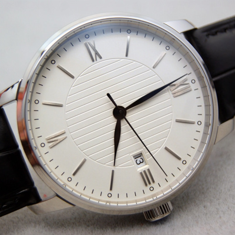 Pailan التلقائي ساعة الرجال جلد طبيعي الفولاذ المقاوم للصدأ الحد الأدنى باوهاوس الأبيض الهاتفي النورس St2130