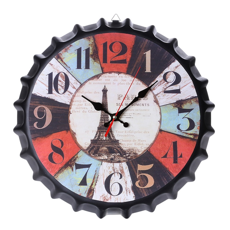 Reloj de pared grande de diseño moderno silencioso creativo con tapa de cerveza, relojes para el hogar, cocina, decoración para sala de estar, funciona con pilas, silencioso