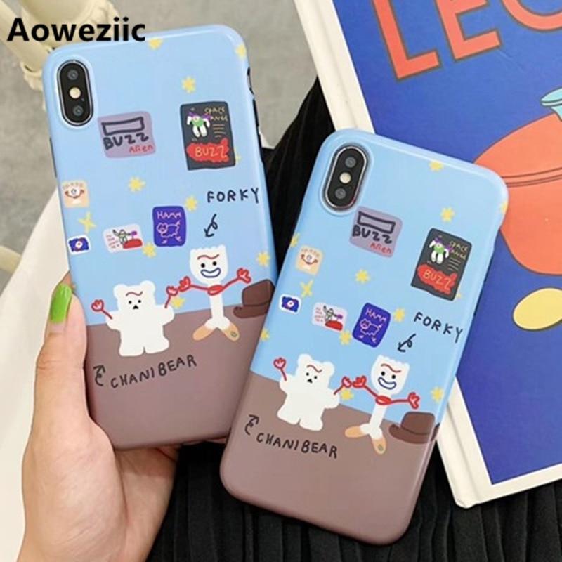 Aoweziic Japón y Corea del Sur oso y pequeño tenedor de dibujos animados para iPhone Xs Max xr funda de teléfono 6s 7 8plus carcasa suave todo incluido