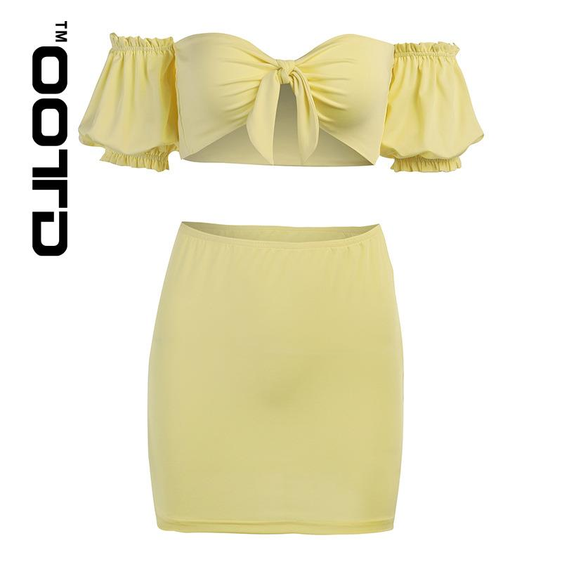OOTD Short Skirt Two-piece New Hubble-bubble Sleeve Shoulder Strapless Tops With Half A Word Skirt Outfit Sexy Pure Color 2021
