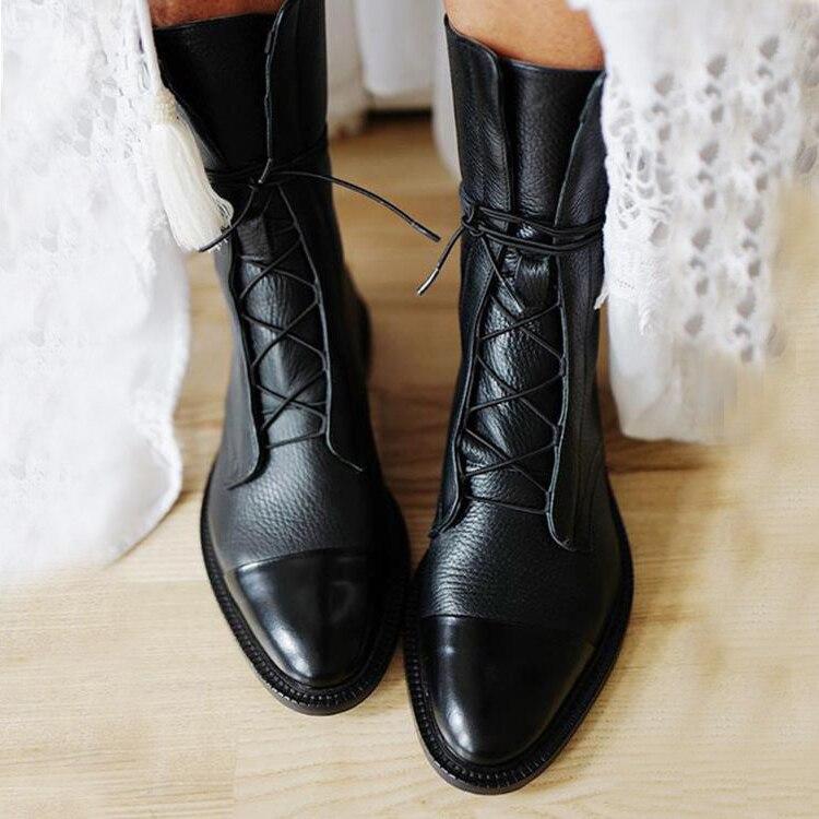 جديد SHENGY براءات الاختراع والجلود النمط البريطاني حذاء مسطح أسود أشار تو الأحذية وسيم دراجة نارية الأحذية النسائية الأحذية