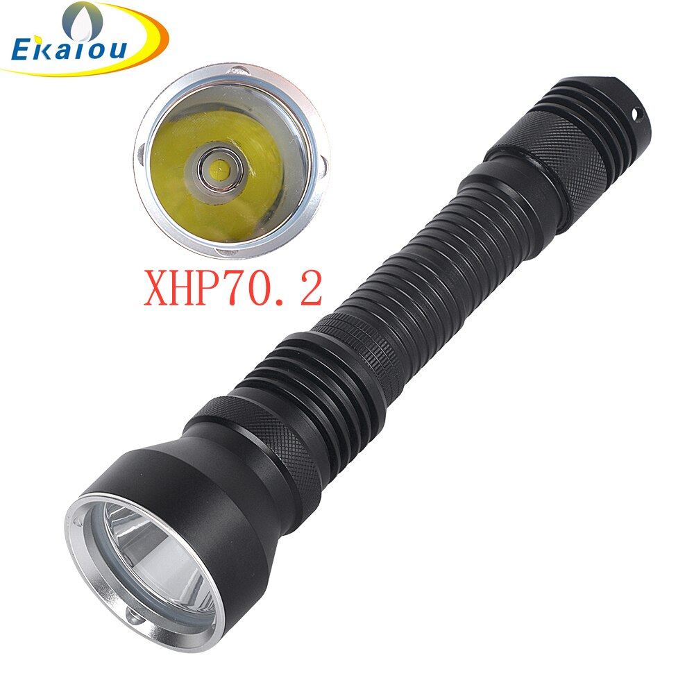 2019 nuevo potente Super brillo 6000 lúmenes XHP70.2 LED linterna de buceo 100M IPX8 impermeable linterna de buceo 26650