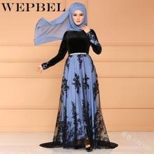 WEPBEL Elegant Indie Folk Muslim Dubai Fashion Evening Floor-Length Dress Turkey New Lace Temperament Embroidered Robe