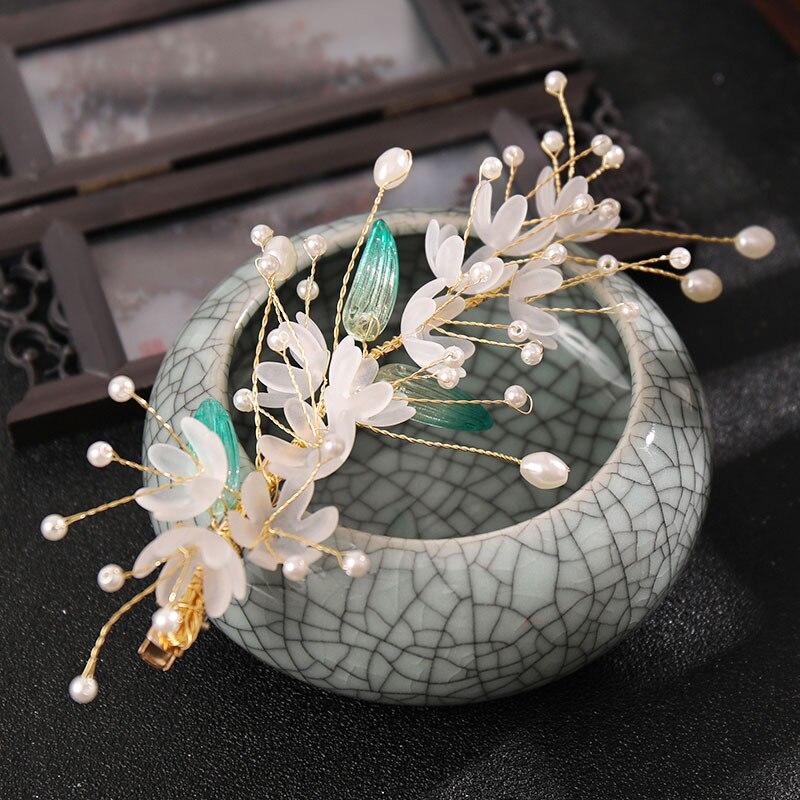 Horquillas de flores de estilo chino para niña, tocado Vintage para boda,...