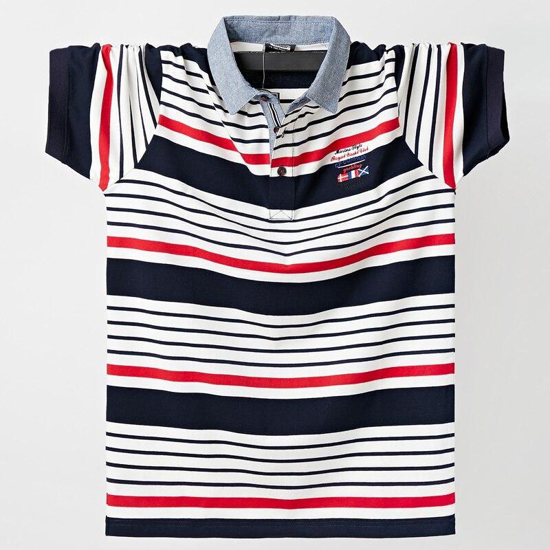2021 новая рубашка летние мужские повседневные дышащие комплект одежды футболки в полоску с короткими рукавами и рисунком футболка поло из чистого хлопка модная мужская одежда плюс Размеры L 6XL
