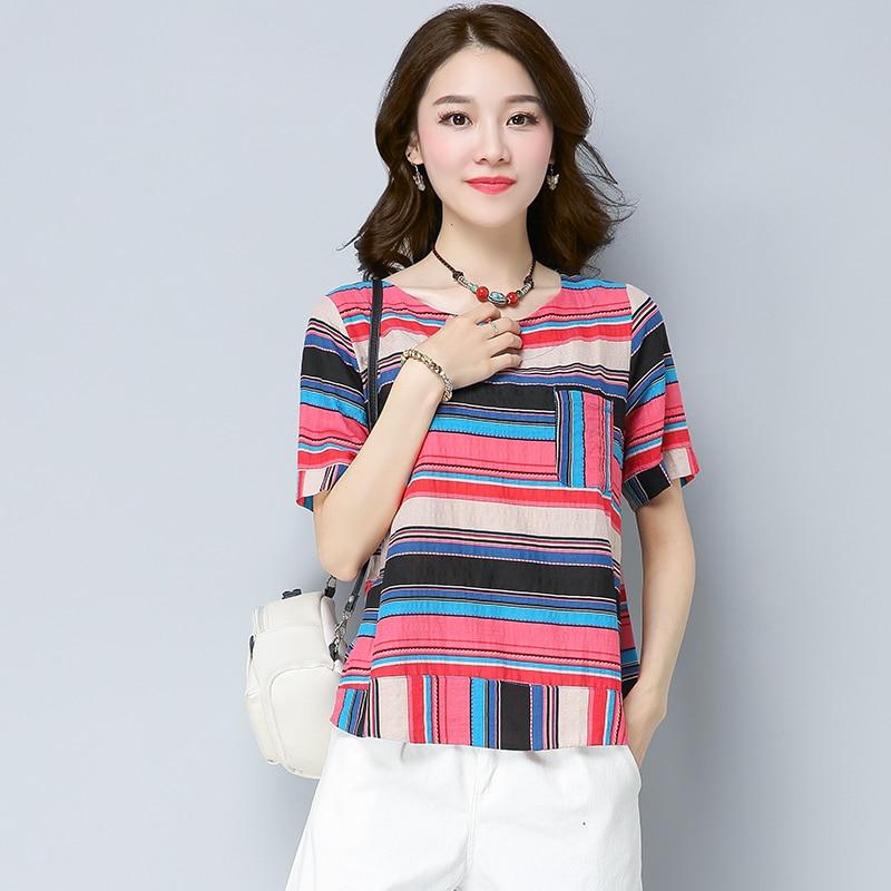 Literature and art restores ancient ways round collar chromatic stripe cotton short sleeve T-shirt