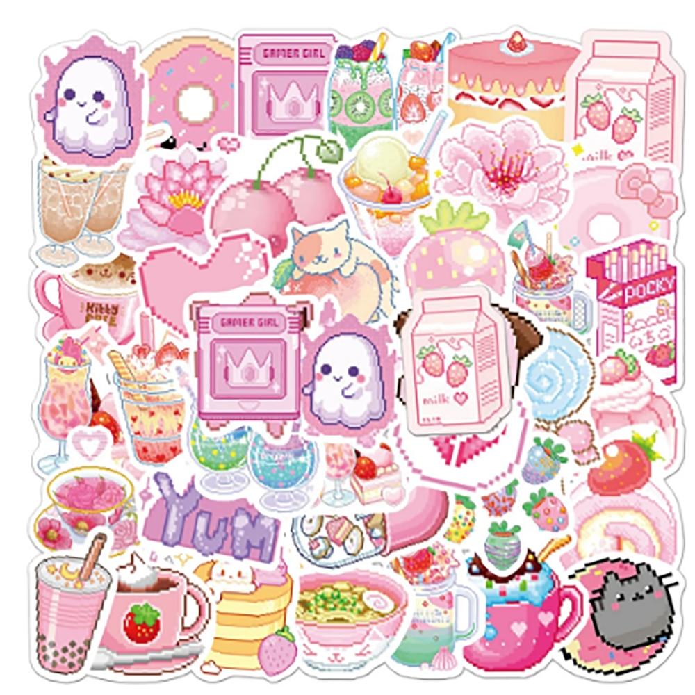 10/30/50PCSINS Style Cute Pink Pixel Cartoon Sticker Bicycle Luggage Laptop Graffiti Waterproof Sticker Toy Wholesale