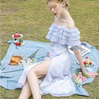 sweet and spicy style chic design sense niche irregular floral one shoulder dress new summer medium length a line skirt