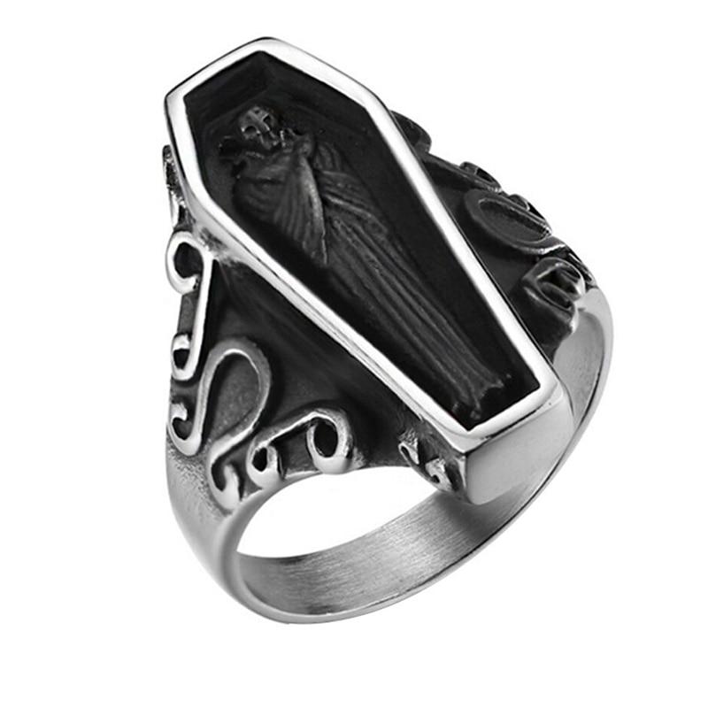 Anillo de acero de titanio para hombre, anillos de ataúd estereoscópicos de momia de Color plata Vintage para mujer, joyería de hombre