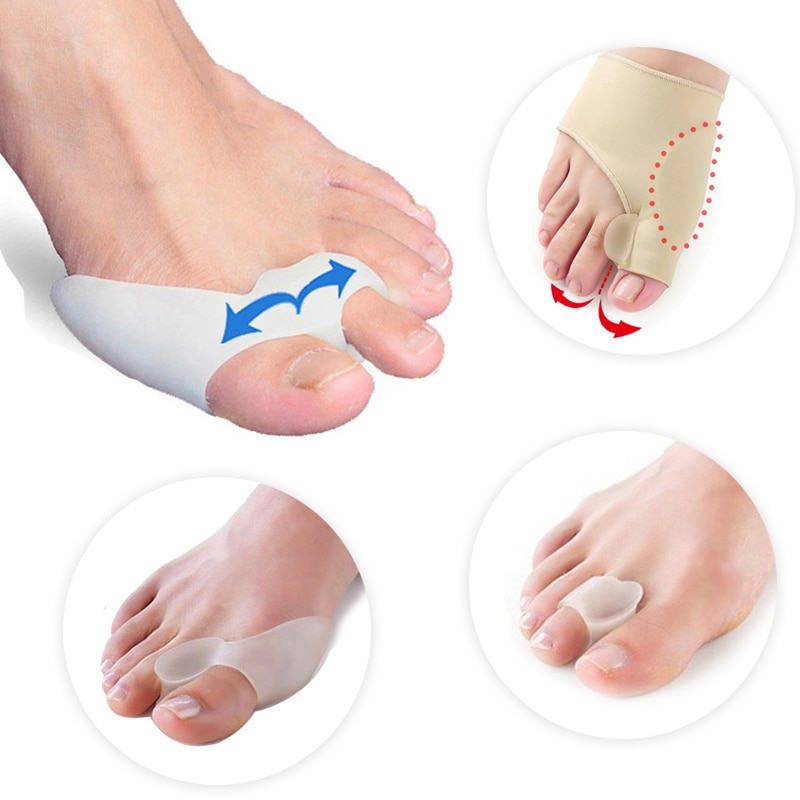 silicone insole orthopedic shoes orthotic insoles thumb valgus protector foot finger toe separator gel inserts pads for shoes 2Pair Toe Protector Silicone Gel Bunion Corrector Orthopedic Toes Separator Finger Thumb Foot Care Tools Valgus Correction