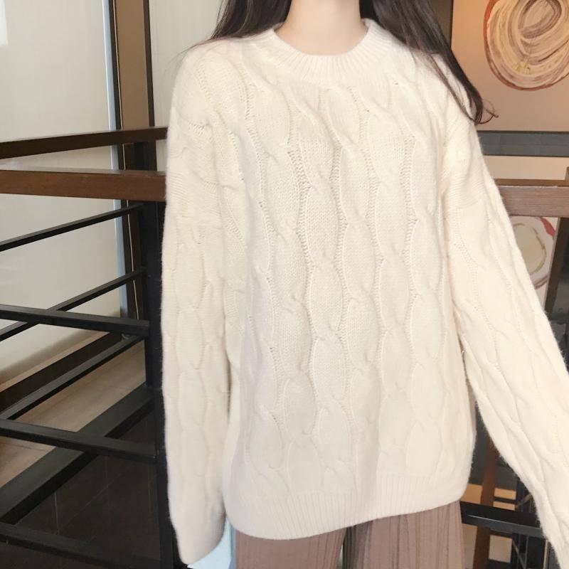 Color sólido de talla grande suéter de mujer Otoño e Invierno suéter de cuello redondo para mantener el calor en el interior usando suéter