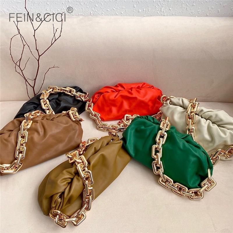Day clutch thick gold chains dumpling purse bag women cloud Underarm shoulder bag designer pleated Baguette pouch totes handbag