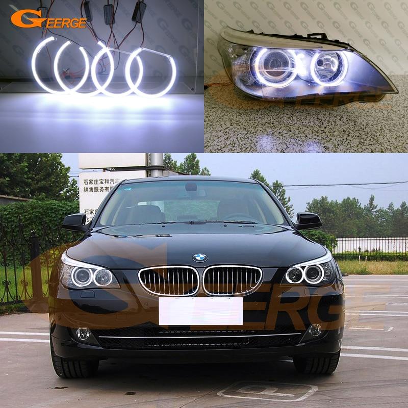 Para BMW E60 E61 LCI 528i 530i 535i 550i M5 2007-2010 faro halógeno iluminación Ultra brillante COB led Ojos de Ángel anillos halo