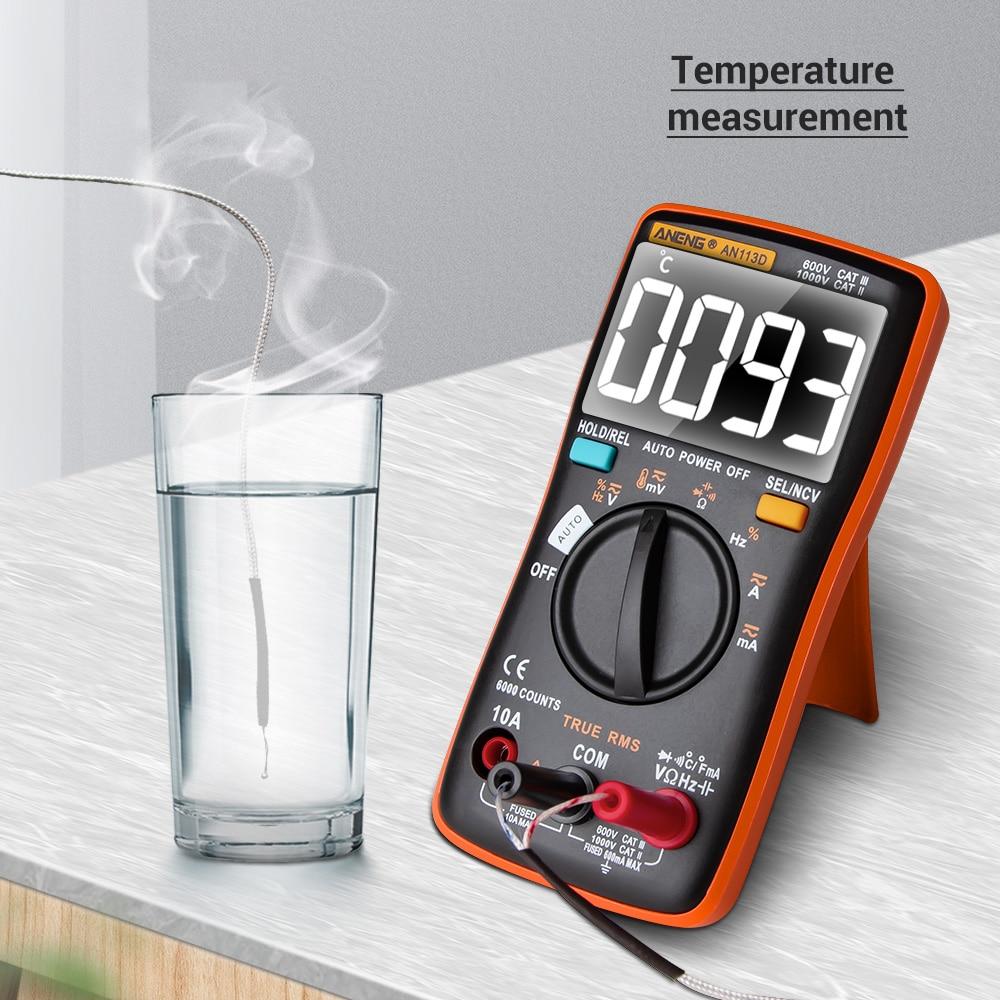 An113d digital multímetro inteligente auto medida 6000 contagens resistência diodo continuidade tester ac/dc medidor de tensão temperatura