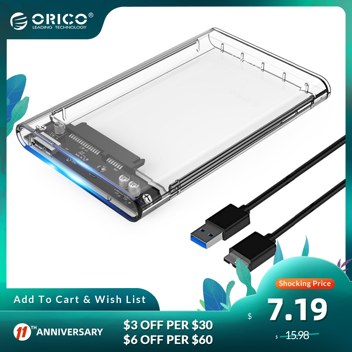 ORICO External Hard Drive Case 2.5 Transparent External HDD SSD Case USB3.0 to SATA 5Gbps 10Gbps 4TB Support UASP HDD Enclosure