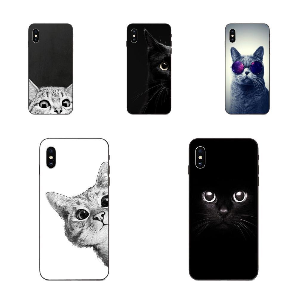 Kawaii Anime gato negro ojos clásico mejor encantadora para Apple iPhone 4 4S 5 5S SE 6 6S 7 8 11 Plus X XS X Max XR Pro Max