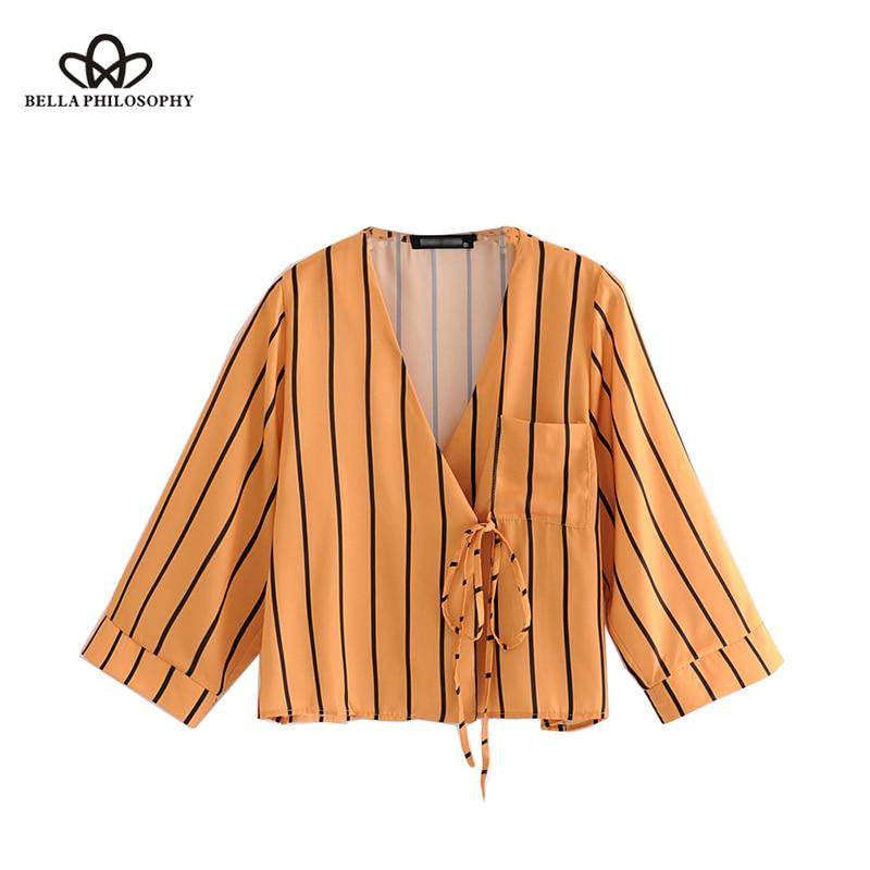 Sorte a 2020 primavera listrado amarelo camisa feminina com decote em v laço até mangas compridas blusa casual bolso feminino topos
