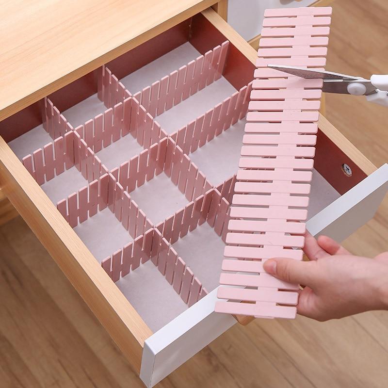 8 pçs divisor de gaveta ajustável plástico livre combinação partição prateleiras de armazenamento organizador roupa interior meias maquiagem clapboard