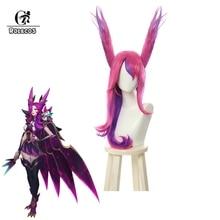 ROLECOS LOL Star Guardian Xayah perruque Cosplay chapeaux les rebelles perruques longues rose violet cheveux oreilles résistant à la chaleur cheveux synthétiques