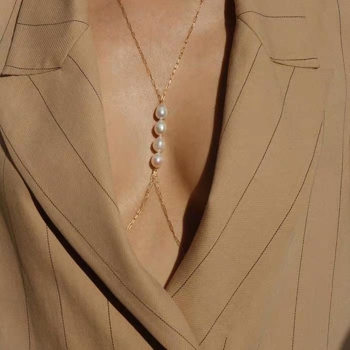 Sexy imitación perla cuerpo cadena encanto playa Bikini cuerpo cruzado joyería club nocturno vestido accesorio regalo