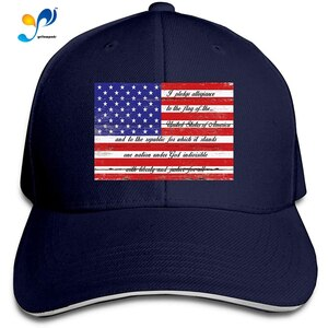 The Pledge of Allegiance American USA Flag Men Cotton Classic Baseball Cap Adjustable Size