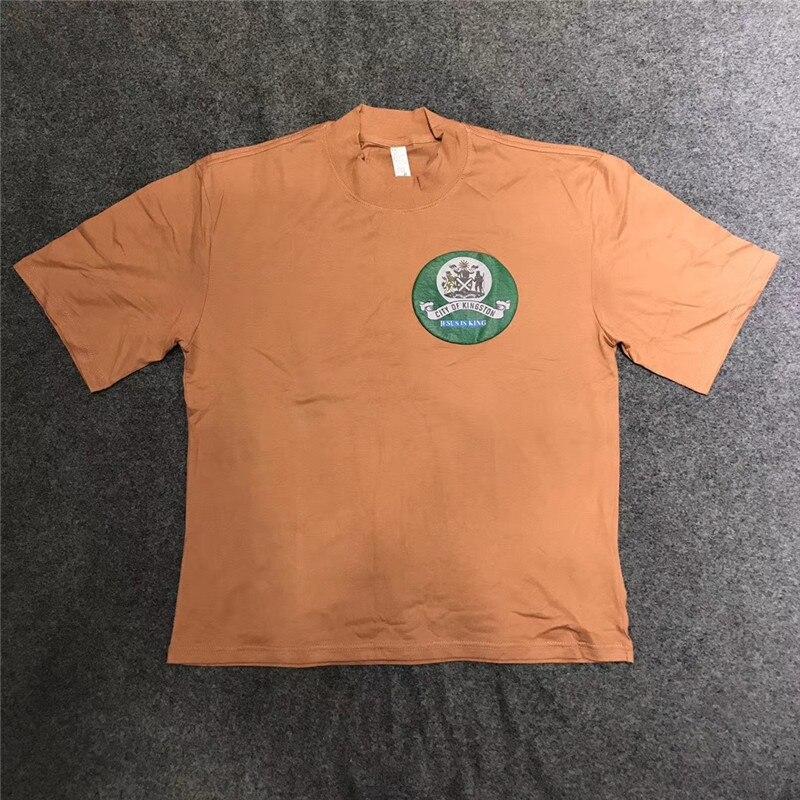 2020ss alta qualidade kanye west 3d impressão kanye jesus é rei jamaica selo t camisa das mulheres dos homens camisetas