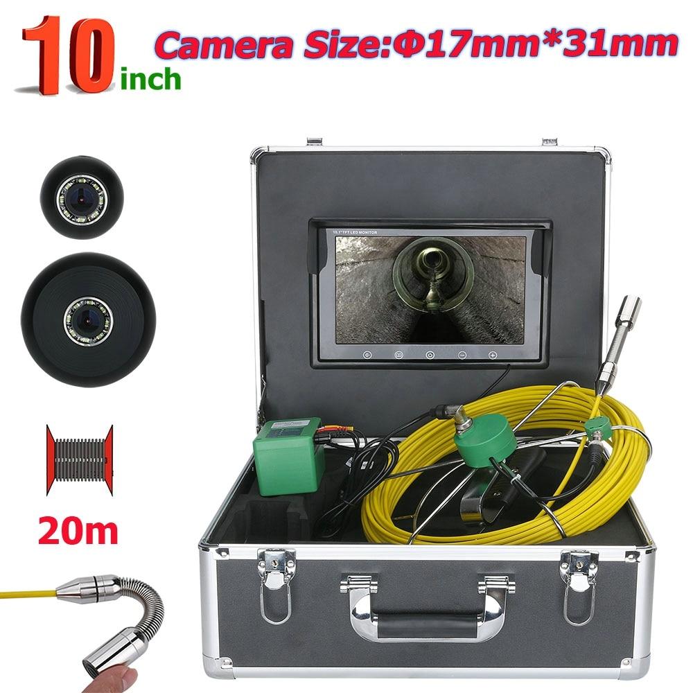 كاميرا فحص صناعية لأنابيب الصرف الصحي ، مقاومة للماء ، IP68 ، 20 م ، 10 بوصة ، 17 مللي متر ، لفحص الأنابيب