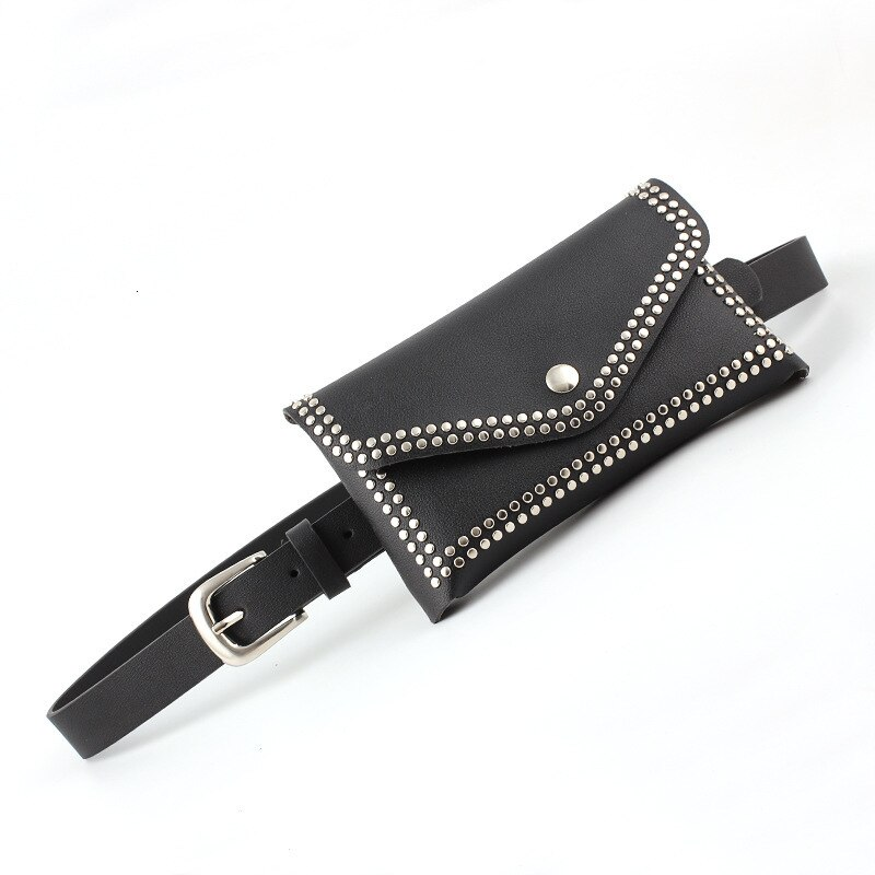 Fashion Rivets Waist Pack Women Fanny Punk Waist Belt Bag Purse Mini Small Luxury Leather Shoulder Bags High Quality Belts