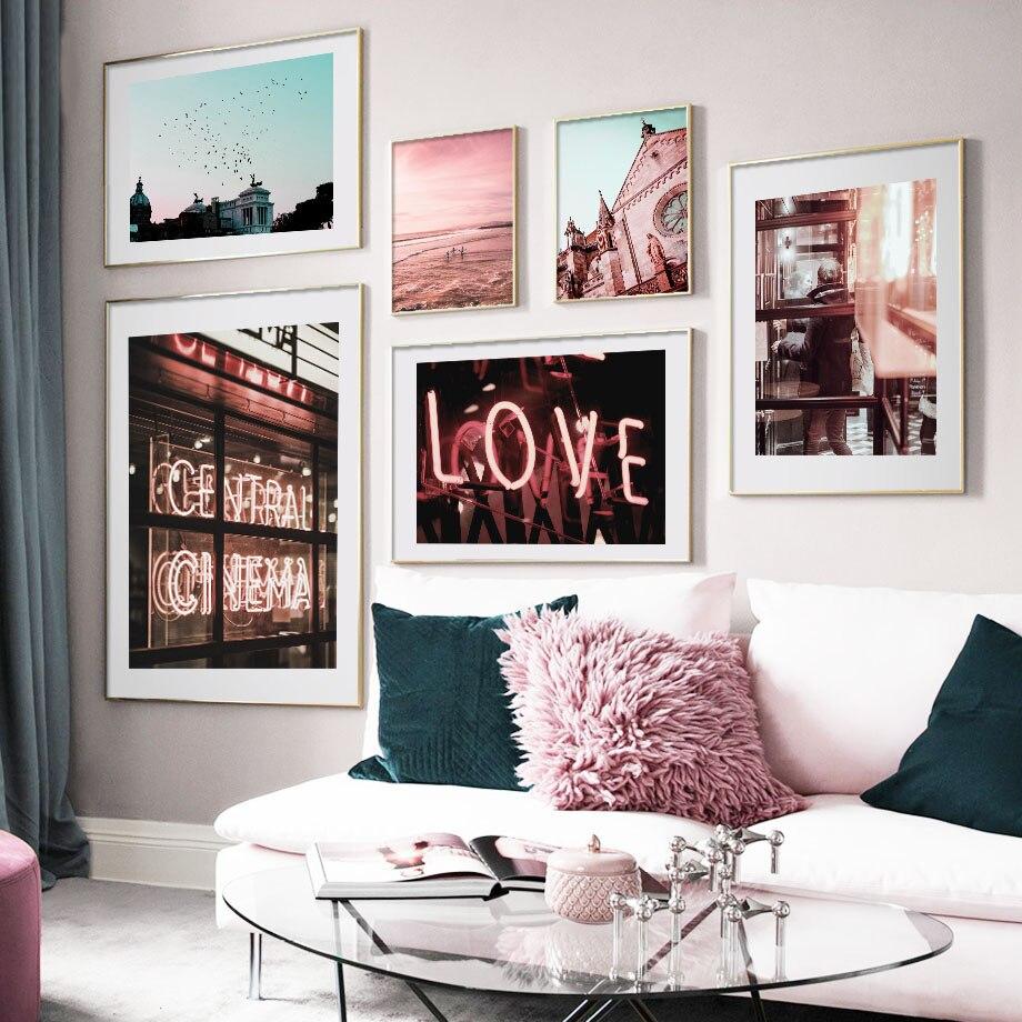 Carteles nórdicos de la calle de la ciudad de la luz de neón de la iglesia del mar rosa e impresiones de arte de la pared pintura de la lona del Club cuadros para el Bar de la Sala