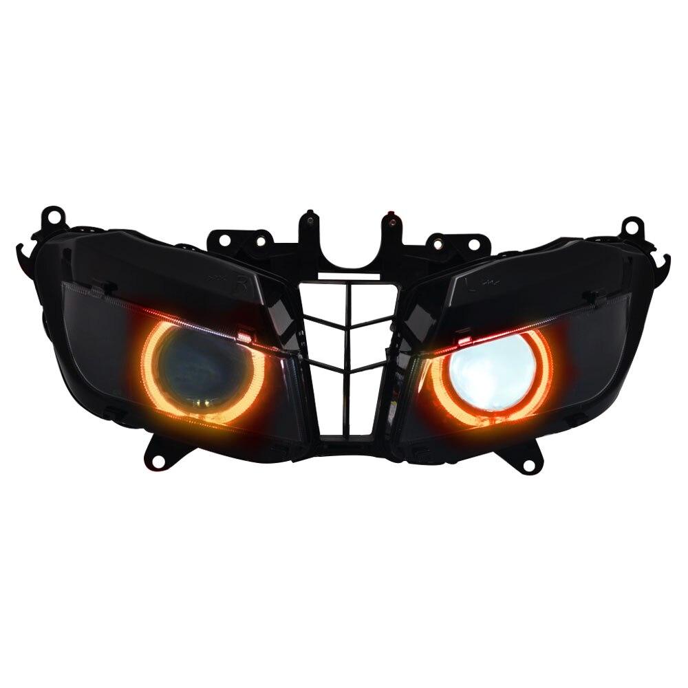 دراجة نارية مخصصة المصباح العارض رئيس مجموعة مصابيح HID الأحمر الملاك ضوء يناسب لهوندا CBR600RR 2013-2018