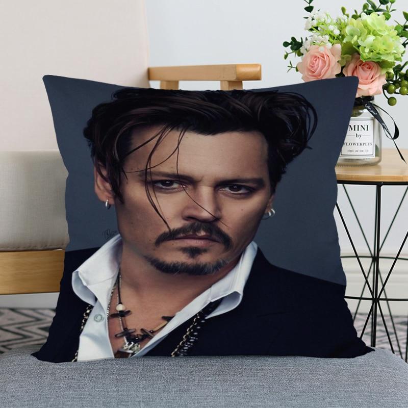 Bonita funda de almohada moderna decorativa para el hogar de Johnny Depp Star, funda de almohada 35x35cm,40x40cm (un lado) para sala de estar, funda de almohada