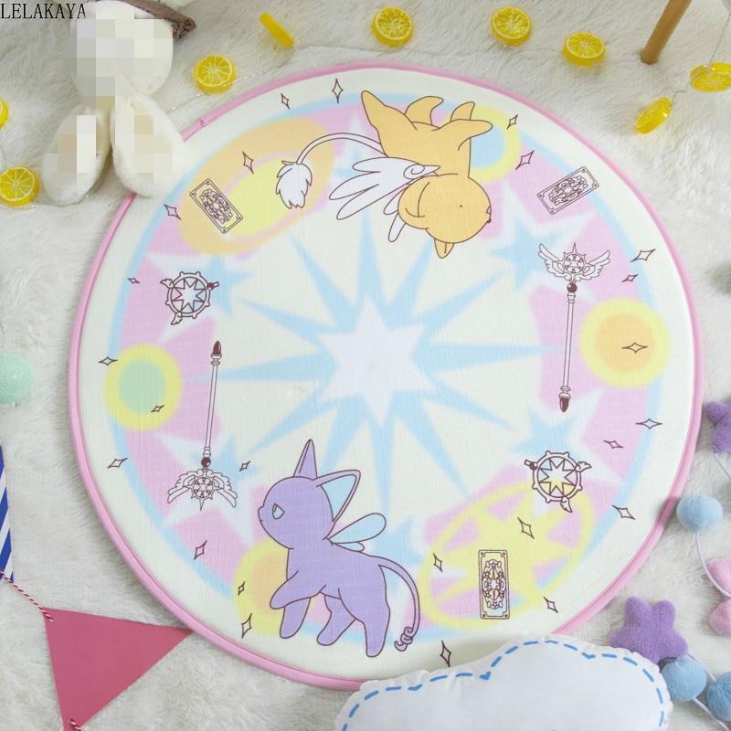 Cartão dos Desenhos Sala de Estar Animados Captor Sakura Estilo Redondo Decoração Tapetes Magic Array Kero Flanela Casa Quarto Tapete Chão Capacho