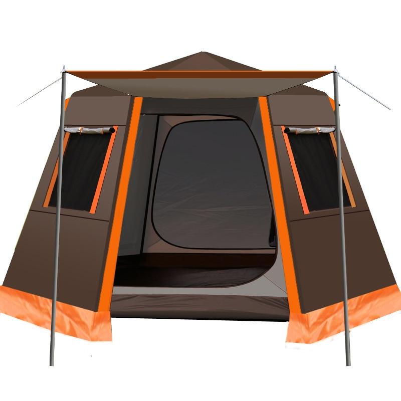 UV سداسية الألومنيوم القطب التلقائي في الهواء الطلق التخييم البرية خيمة كبيرة 3-4person المظلة حديقة العريشة 245*245*165 سنتيمتر