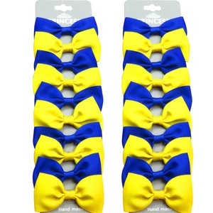 20PCS/Lot Lovely Blue Yellow With Hairpins Grosgrain Ribbon Bows Clips 2020 Korean Creativity Hair Accessories For Baby Girls